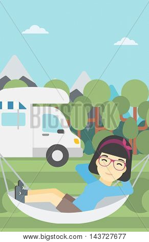 An asian woman lying in hammock in front of motor home in the forest. Woman resting in hammock and enjoying vacation in camper van. Vector flat design illustration. Vertical layout.