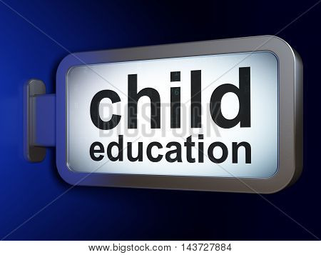 Studying concept: Child Education on advertising billboard background, 3D rendering