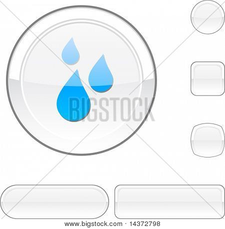 Rain white buttons. Vector illustration.