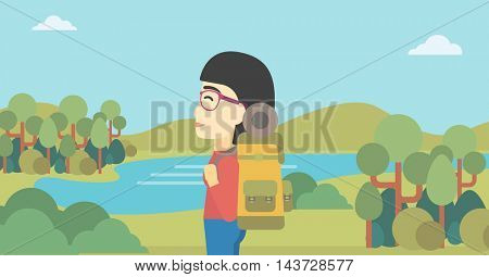 An asian woman with backpack enjoying the view of landscape with mountains and lake. Vector flat design illustration. Horizontal layout.