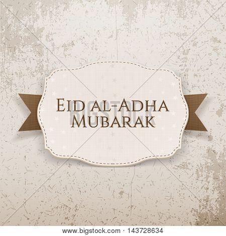 Eid al-Adha Mubarak festive Emblem on textile Ribbon
