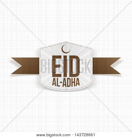 Eid al-Adha realistic white Label on brown Ribbon