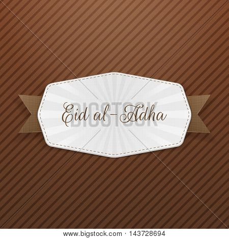 Eid al-Adha Tag with Text and Ribbon