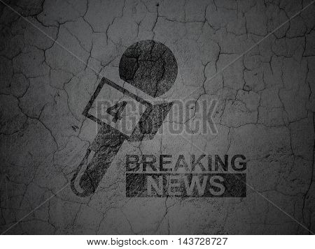 News concept: Black Breaking News And Microphone on grunge textured concrete wall background