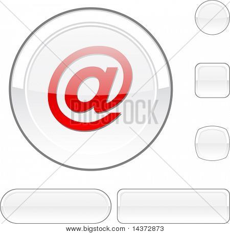 Arroba white buttons. Vector illustration.