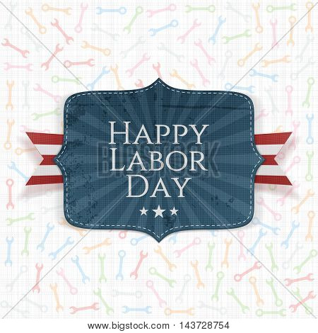 Happy Labor Day Text on festive Label