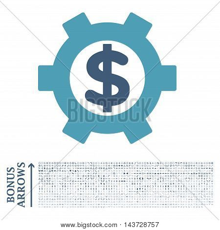 Financial Settings icon with 1200 bonus arrow and direction pictograms. Vector illustration style is flat iconic bicolor symbols, cyan and blue colors, white background.