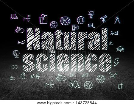 Science concept: Glowing text Natural Science,  Hand Drawn Science Icons in grunge dark room with Dirty Floor, black background