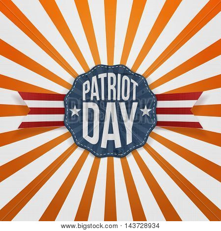 Patriot Day Text on paper Badge with Ribbon