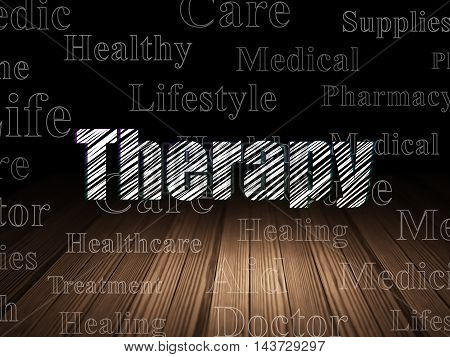 Health concept: Glowing text Therapy in grunge dark room with Wooden Floor, black background with  Tag Cloud