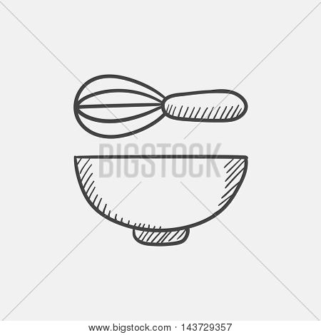 Whisk and bowl sketch icon for web, mobile and infographics. Hand drawn vector isolated icon.