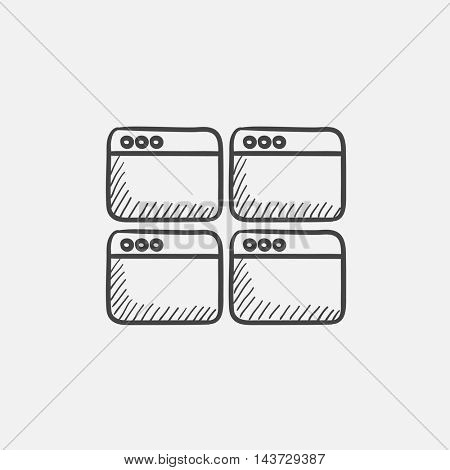 Opened browser windows sketch icon for web, mobile and infographics. Hand drawn vector isolated icon.