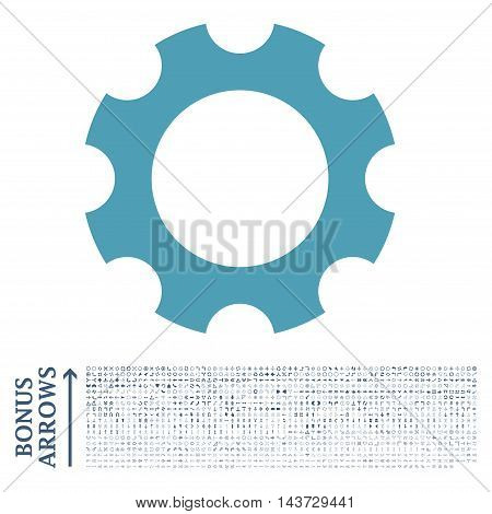 Gear icon with 1200 bonus arrow and navigation pictograms. Vector illustration style is flat iconic bicolor symbols, cyan and blue colors, white background.
