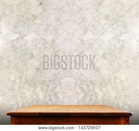 Wooden Tabletop At Concrete Wall,template Mock Up For Display Of Product,business Presentation