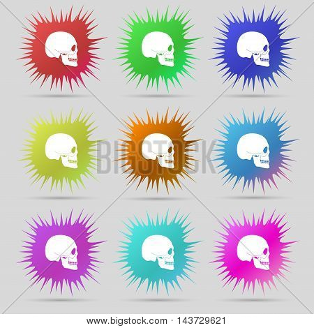 Skull Icon Sign. A Set Of Nine Original Needle Buttons. Vector