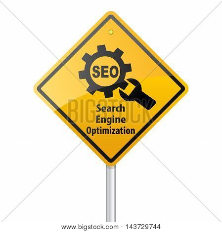 SEO Search Engine Optimization Marketing Yellow Sign Post