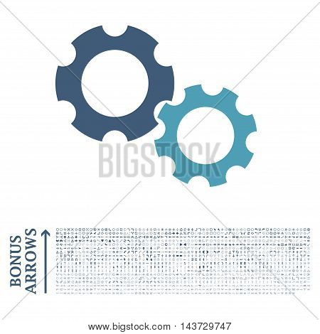 Gears icon with 1200 bonus arrow and direction pictograms. Vector illustration style is flat iconic bicolor symbols, cyan and blue colors, white background.