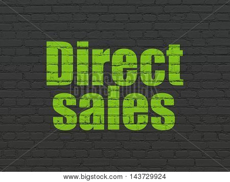 Marketing concept: Painted green text Direct Sales on Black Brick wall background