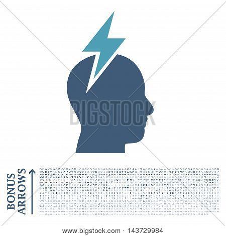 Headache icon with 1200 bonus arrow and direction pictograms. Vector illustration style is flat iconic bicolor symbols, cyan and blue colors, white background.