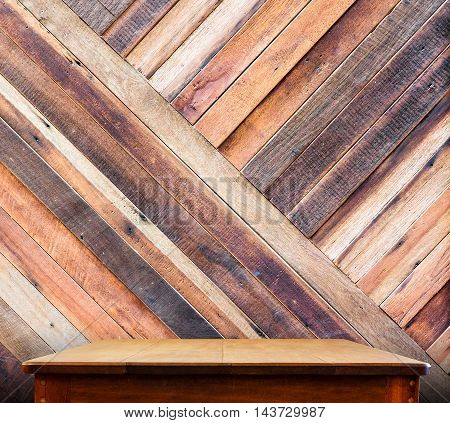 Wooden Tabletop At Tropical Diagonal Wood Wall,template Mock Up For Display Of Product,business Pres