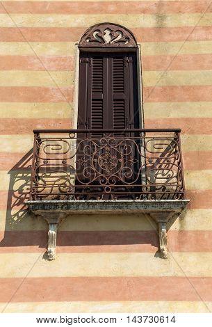 Wrought Iron Balcony in Torri del Benaco at Garda Lake. Italy