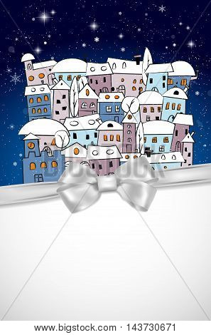 Card With Snowy Village Under Night Sky And Silver Bow