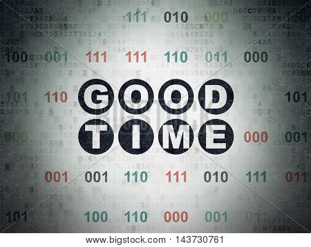Time concept: Painted black text Good Time on Digital Data Paper background with Binary Code