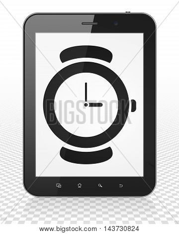 Timeline concept: Tablet Pc Computer with black Watch icon on display, 3D rendering