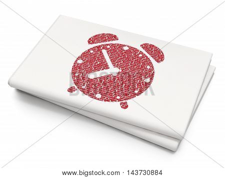 Time concept: Pixelated red Alarm Clock icon on Blank Newspaper background, 3D rendering
