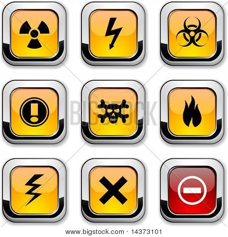 Warning glossy icons. Vector buttons.