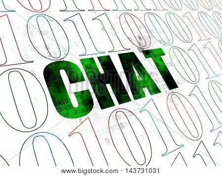 Web development concept: Pixelated green text Chat on Digital wall background with Binary Code