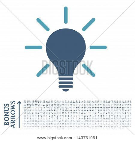 Light Bulb icon with 1200 bonus arrow and navigation pictograms. Vector illustration style is flat iconic bicolor symbols, cyan and blue colors, white background.