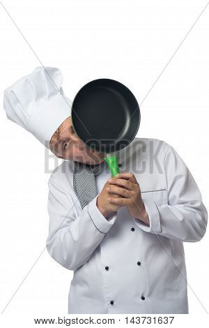 Chef looks out for pans, on a white background