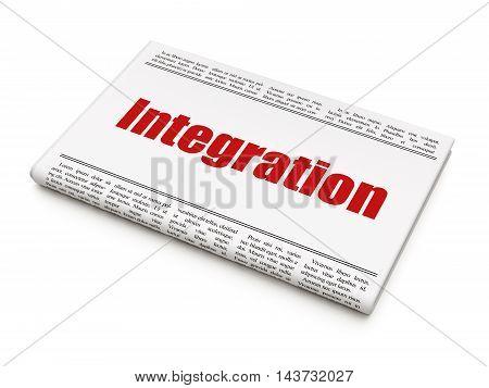 Business concept: newspaper headline Integration on White background, 3D rendering