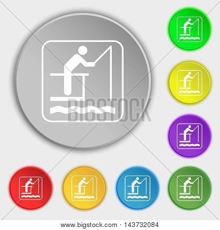 Fishing Icon Sign. Symbol On Eight Flat Buttons. Vector