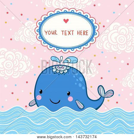 Beautiful happy birthday greeting card with whale and sea. Vector party invitation.