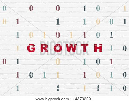 Finance concept: Painted red text Growth on White Brick wall background with Binary Code