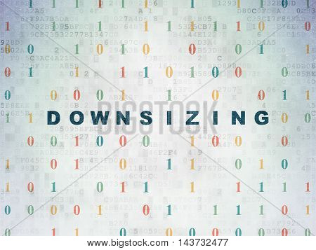 Business concept: Painted blue text Downsizing on Digital Data Paper background with Binary Code