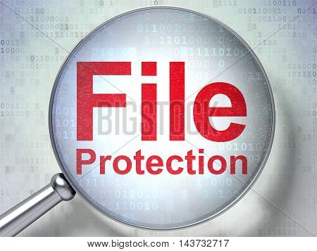 Protection concept: magnifying optical glass with words File Protection on digital background, 3D rendering