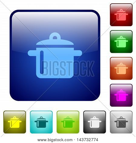 Set of cooking color glass rounded square buttons