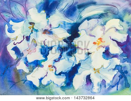 Abstract watercolor original painting white purple color of orchid flowers and green leaves of blue color background.