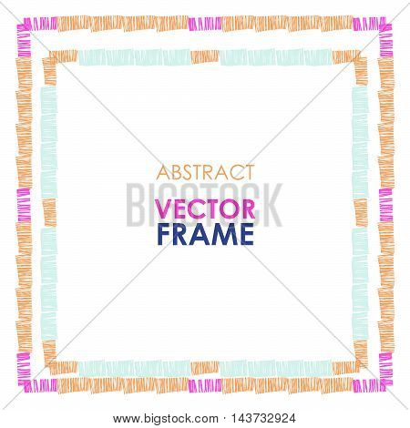 Abstract vector Ethnic square vector border. Tribal Checkered striped frame on white background.