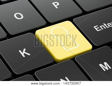 Privacy concept: computer keyboard with Keyhole icon on enter button background, 3D rendering