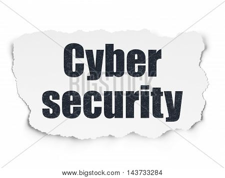 Safety concept: Painted black text Cyber Security on Torn Paper background with Scheme Of Hexadecimal Code