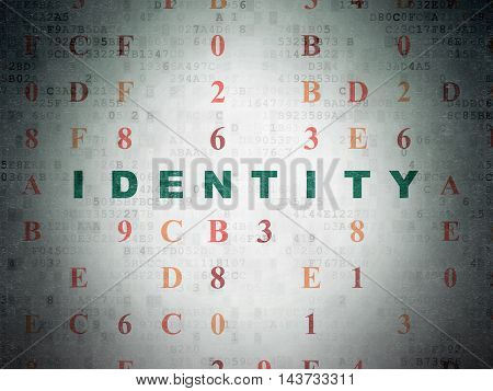 Privacy concept: Painted green text Identity on Digital Data Paper background with Hexadecimal Code
