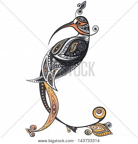 Ethnic bird and feather with ornament decor. Element for design. Graphic art. Bitmap picture.