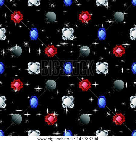 Abstract diamond vector background. Jem seamless pattern.