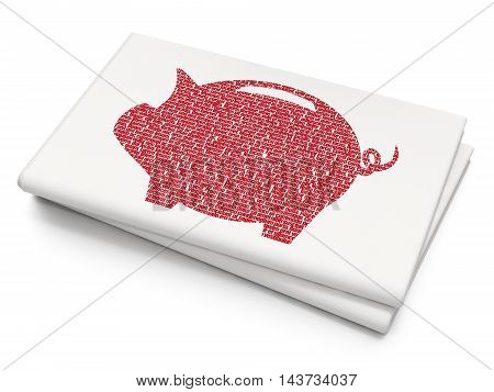 Banking concept: Pixelated red Money Box icon on Blank Newspaper background, 3D rendering