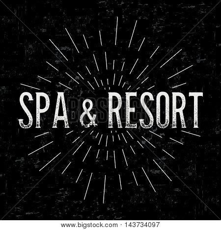 Abstract creative vector design layout with text - spa and resort. Vintage concept background, art template, retro elements, logo, labels, layout, badge, old banner, card. Hand made typography word.