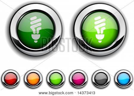 Fluorescent bulb realistic buttons. Vector illustration.